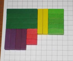 4 sixes (dark greens), 2 fives (yellows), 5 threes (light greens), 4 fours (purples), 3 twos (reds)
