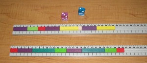 Race To 50:  At this point in the game, one player has reached 28cm and the other is at 30cm.