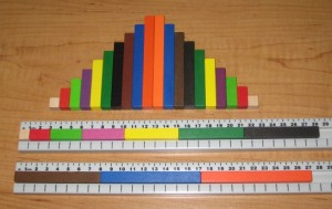 Cuisenaire rod staircases and rod trains in rod tracks