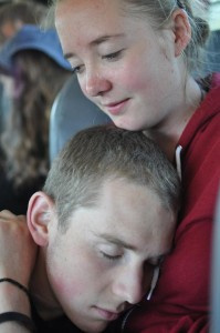 Asleep next to a good friend on the bus ride home from camp...